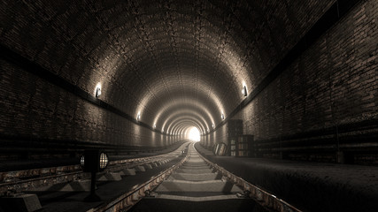 realistic old subway metro tunnel
