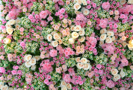 Beautiful pink, peach, yellow and cream colored roses, esters, daisies and hydrangea wall paper. Wedding background. Flowers wallpaper and background.