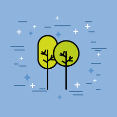 natural trees forest ecology icon vector illustration