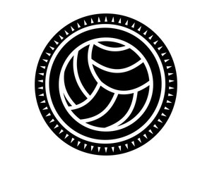 black volley ball icon sport equipment tool utensil image vector