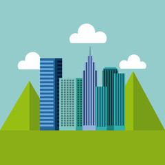 panorama buildings urban with mountains natural vector illustration