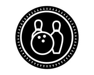 black bowling icon sport equipment tool utensil image vector