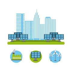 city energy renewable solar panel turbine wind reactor nuclear vector illustration