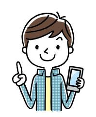 男の子:スマートフォン