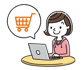 女の子:インターネット、ショッピング、買い物
