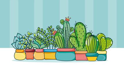 Set of Cute houseplants cartoons