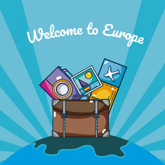Travel and discover europe cartoons over striped blue background
