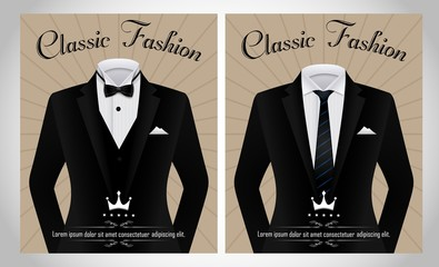 Business suit template with a black tie and white shirt banner