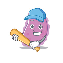 Playing baseball bacteria character cartoon style