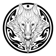 Wolf face double exposure with tree in Aztec tribal circle shape tattoo black silhouette vector with white background