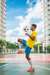 Soccer player showing his skills