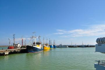 Hocheseefischen, Fischkutter im Hafen Sassnitz