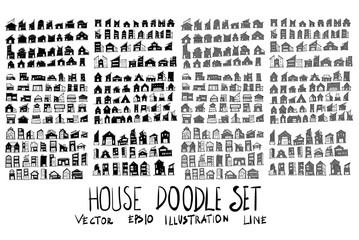 Set of vector doodle drawing Collection House on white background eps10