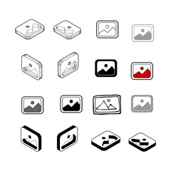 Set of Collection modern vector. Picture icon multi type of 3d isometric, solid, line, scribble hatch, doodle, shadow isometric and a little colour on white background eps10