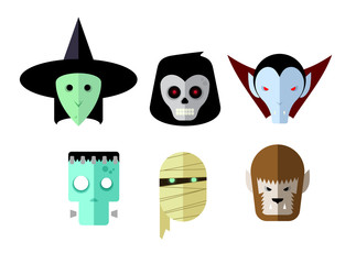 Six vector monster heads in a flat vector style