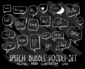 Set of vector doodle drawing Collection Bubble on black background eps10