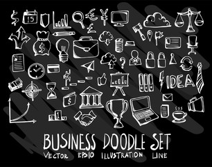 Set of vector doodle drawing Collection Business on black background eps10