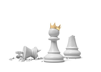 3d rendering of a white chess pawn wearing a gold crown and standing near a broken white king piece.