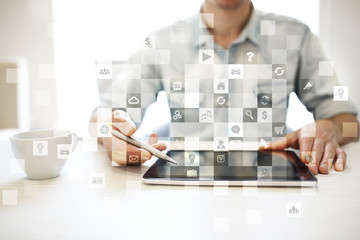 Virtual screen interface with applications icons. APPS. Strategy planning Internet technology concept.