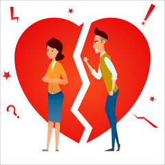 Divorce. Fight and argue. Two people quarrel. Family conflict. Break up relationship. Married couple man and woman angry, sad against broken heart.. Cartoon characters. Vector illustration.