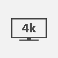 4k Flat screen TV vector icon smart television set