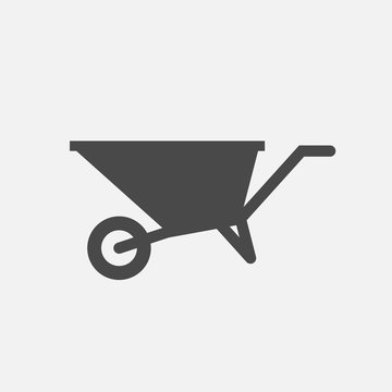 wheelbarrow vector icon labor equipment