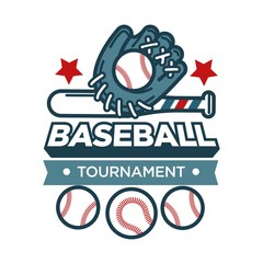 Baseball tournament promotional emblem with sportive glove and balls