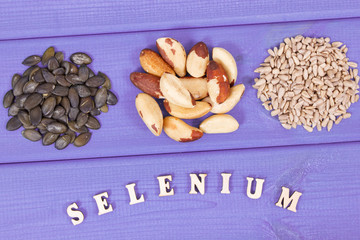 Natural food containing selenium, minerals and dietary fiber, healthy nutrition concept