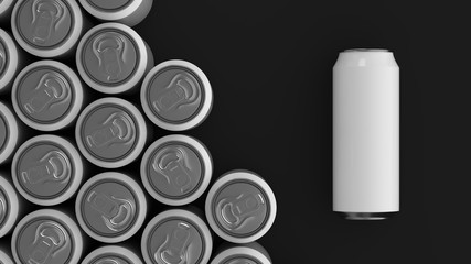Big white soda cans on black background