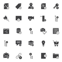 Add elements vector icons set, modern solid symbol collection, filled style pictogram pack. Signs logo illustration. Set includes icons as graph, tag, location, pie chart, key, magnifying glass, video