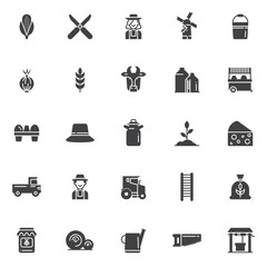 Agriculture vector icons set, modern solid symbol collection, filled style pictogram pack. Signs, logo illustration. Set includes icons as corn, shears, farmer female, windmill, bucket, onion, wheat