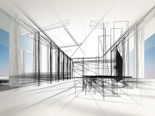 sketch design of interior hall, 3d rendering