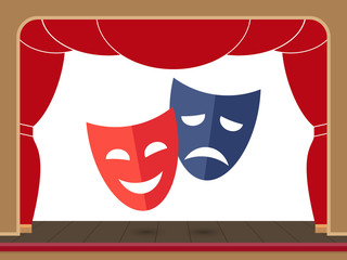 Theater masks on the theater stage with an open curtain