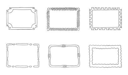 Set of simple frames outline