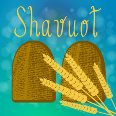 Shavuot. Concept of Judaic holiday. Tablets of the covenant. Ears of wheat