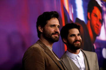 "Cast members Ramirez and Criss pose at a panel event for ""The Assassination of Gianni Versace: American Crime Story"" in Los Angeles"