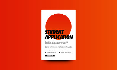 Student Application Page Layout with Bullet Points and Apply Now Button
