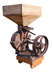 Retro  vintage rusty agricultural machinery - iron  device for wheat separation.