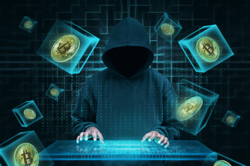 Man with virtual keyboard trying to hack bitcoin network