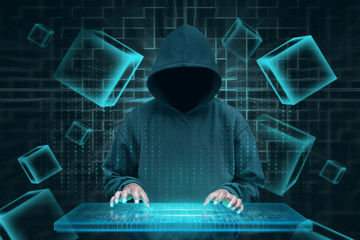 Hacker with virtual keyboard trying to hack blockchain security