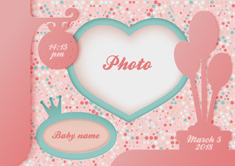 Template for the newborn baby photo album. First achievements of the baby