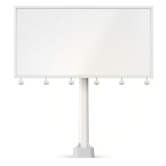 Blank billboard, front view with lamps and the support bolted to the base. 3D illustration isolated on white background ready to use in commercial advertisement