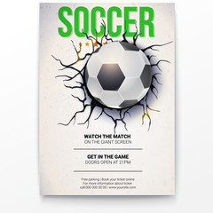 Poster with soccer ball on the background of a broken-down wall with cracked plaster. Football ball damaged the wall with texture, 3D illustration. Poster for sport events, tournament, championships