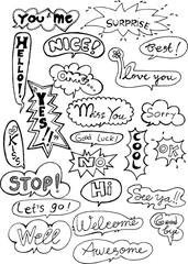 chat, bubble, comic, balloon, doodle