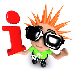 3d Funny cartoon punk rocker kid character holding an information symbol