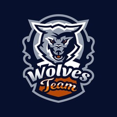 Colorful emblem, logo, snarling wolf. An aggressive predator, an animal from the forest, a coyote, a dangerous beast, a head, a mascot. Sport Identity, T-shirt printing, vector illustration