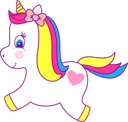 illustration of cute unicorn isolated on white background, design for baby and children