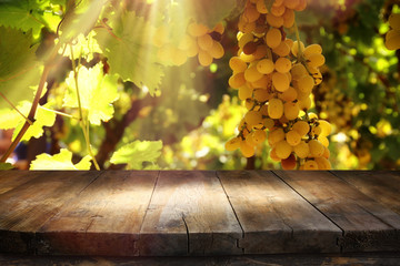 Image of wooden table in front of blurred vineyard landscape. Ready for product display montage.