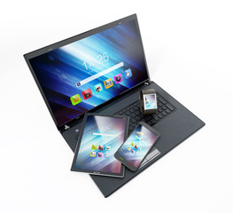 Laptop computer, tablet pc, smartphone and smartphone. 3D illustration