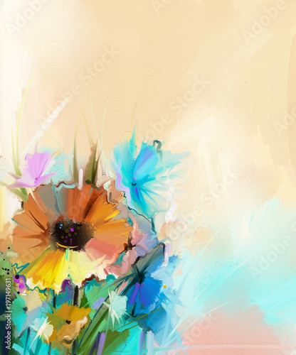 Abstract Colorful Oil Painting On Canvas Semi Abstract Image Of